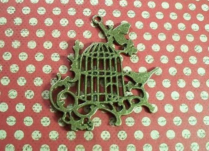 Antique Bronze Brass Birdcage Charm 2.1/4""