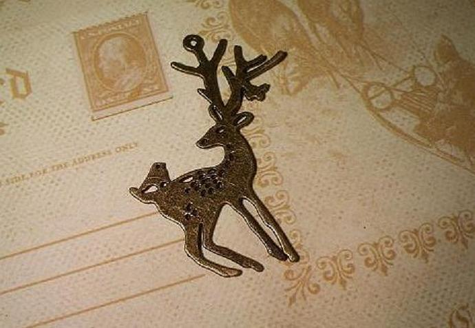 Antique Bronze Brass Reindeer Charm 2.1/4""