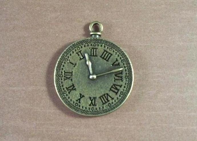 "2 Antique Bronze Brass Clock Charms 1.1/4"""