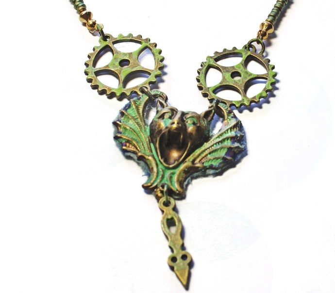 Long Green Beaded Necklace, Patina Gargoyle and Recycled Clock Pendulum Pendant,