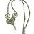 Long Green Beaded Necklace, Patina Gargoyle and Recycled Clock Pendulum Pendant,