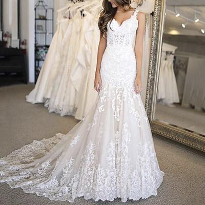 Charming V neck Appliques Mermaid Wedding Dresses, Formal Bridal Gowns