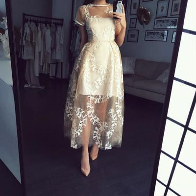 Short Sleeve Appliques Party Dress, Tulle Long Prom Dresses