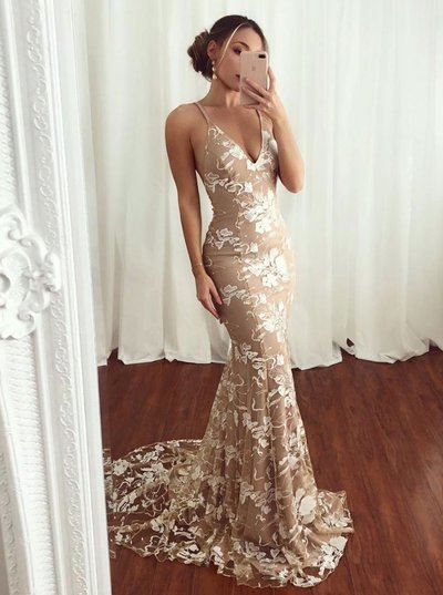 Charming V neck Lace Mermaid Evening Dress with Spaghetti Straps Formal Prom
