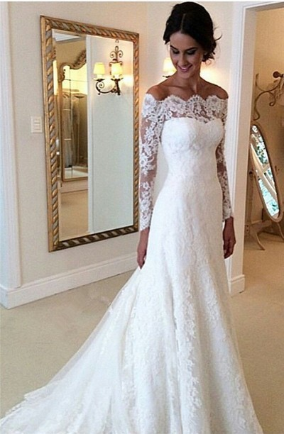 Long Sleeve White Lace Mermaid Wedding Dress, Tulle Wedding Gowns