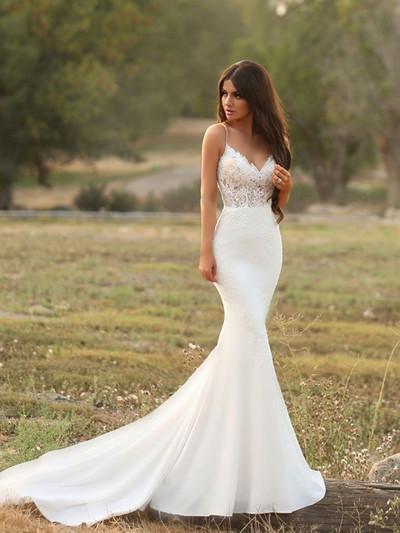 Sexy Spaghetti Straps White Appliques Tight Mermaid Wedding Dresses