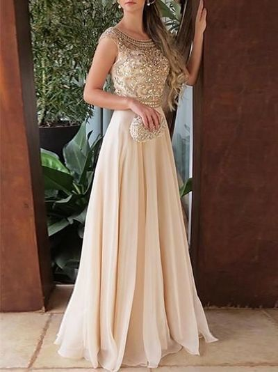 Charming Beading Champagne Chiffon Evening Dress, Long Prom Dress