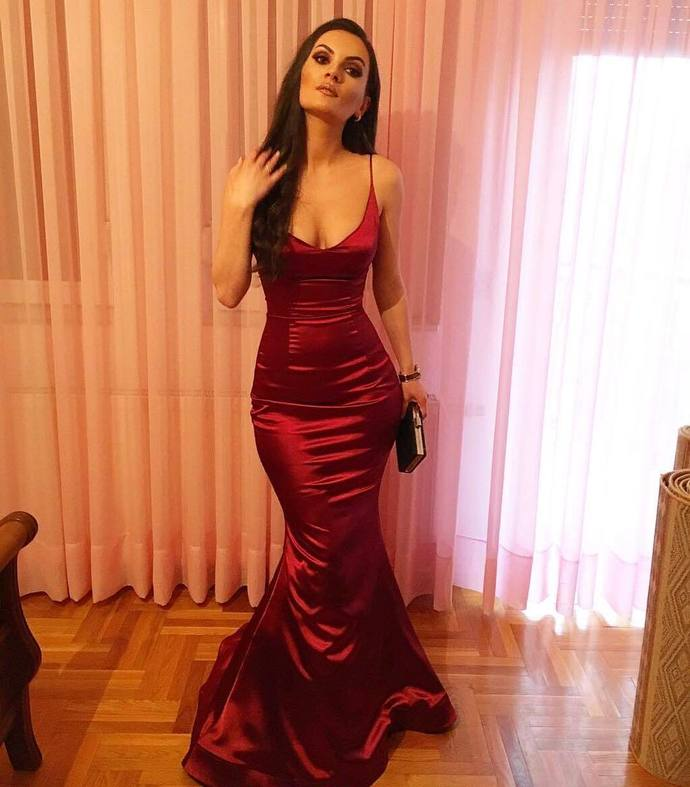 Sexy Spaghetti Straps Burgundy Mermaid Prom Dress, Deep V neck Long Evening