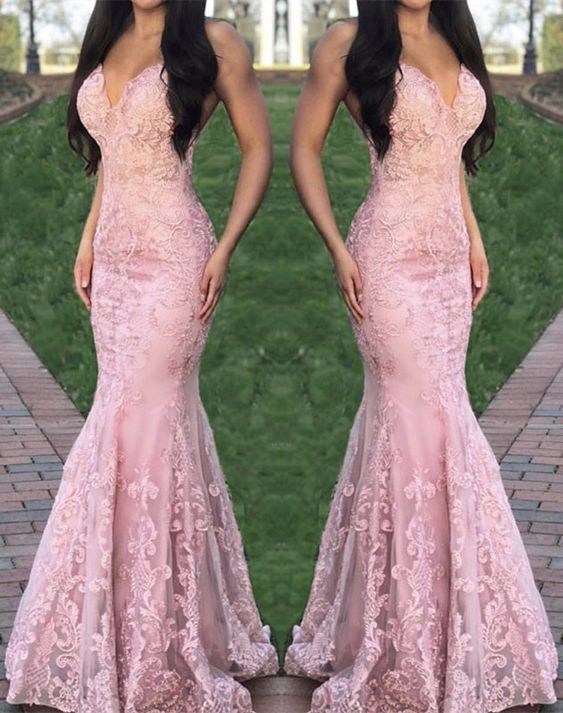2020 V neck Pink Appliques Mermaid Evening Dress, Formal Prom Dresses