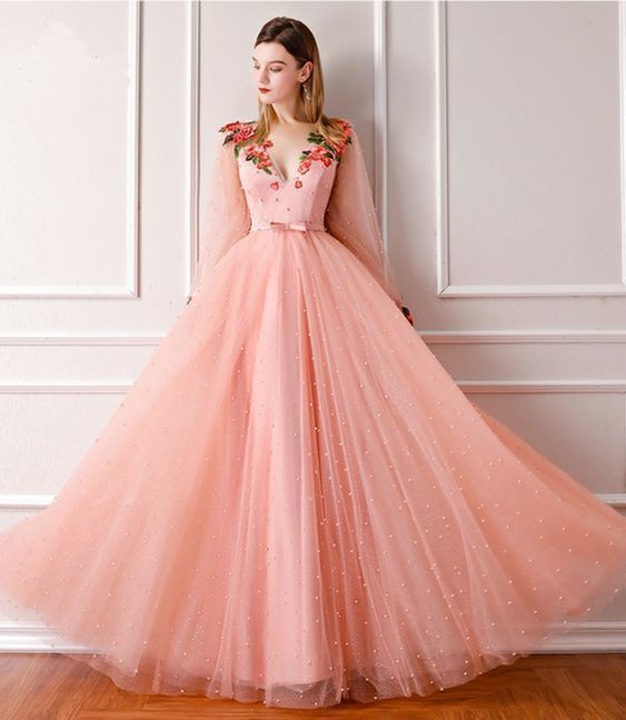 New Fashion Long Sleeve Tulle Prom Dress with Pearls, Pink Evening Dress