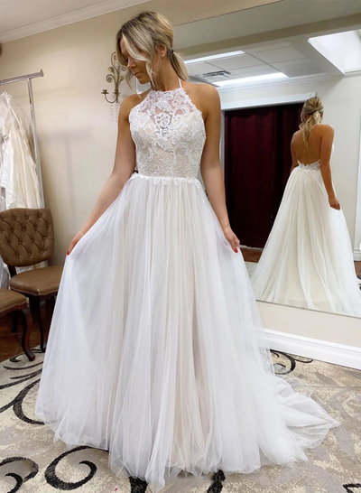 White Backless Lace Top Long Prom Dresses