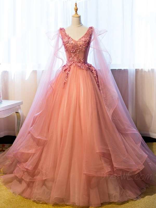 Elegant V neck Tulle Formal Quinceanera Dress, Appliques Ball Gown Prom Dresses