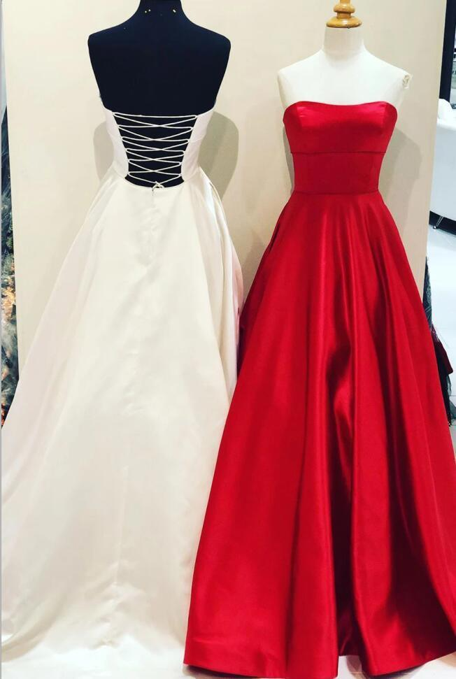 Charming Red Strapless Satin Formal Evening Dress, Simple Long Prom Dress