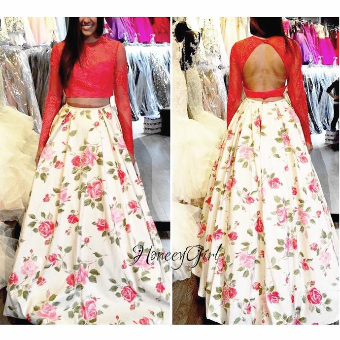printed two pieces prom dresses long sleeve lace appliqué beaded elegant cheap