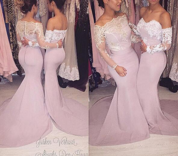 lace applique mermaid bridesmaid dresses long sleeve mismatched cheap dusty pink