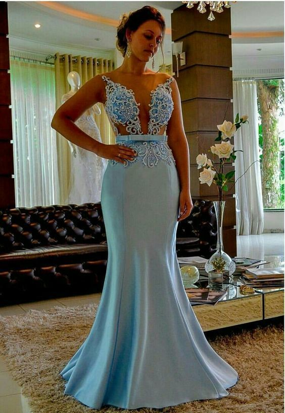 blue mermaid evening dresses long satin beaded elegant sheer neck modest evening