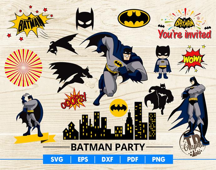 Batman Party SVG Bundle, Batman Mask, Batman Cupcake Topper, Batman Invitation