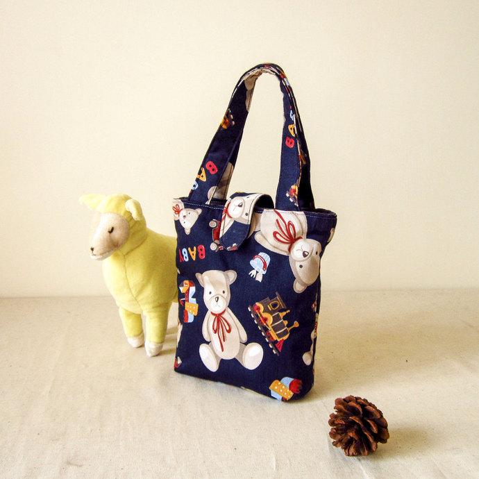 walking little bag, kids bag, teddy bear, toys pattern, handbag, small tote,