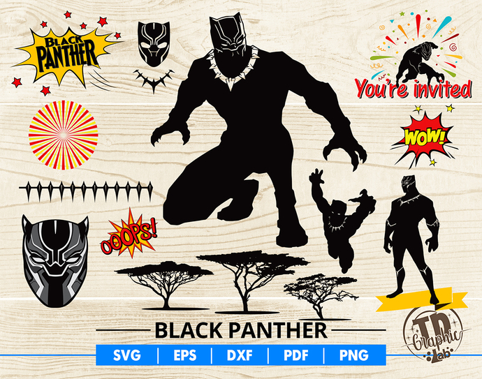 Black Panther SVG Bundle, Black Panther Mask, Cupcake Topper, Black Invitation