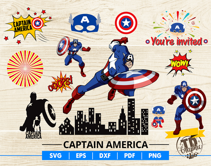 Captain America SVG Bundle, Captain America Mask, Cupcake Topper, Invitation