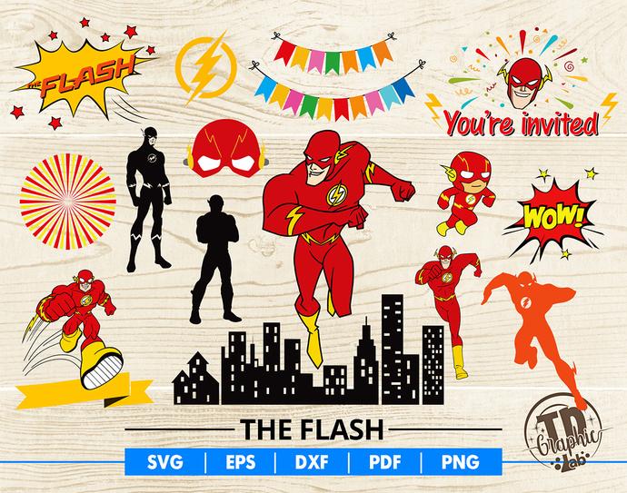 The Flash SVG Bundle, Flash Mask, Baby Flash Cupcake Topper, Invitation header,