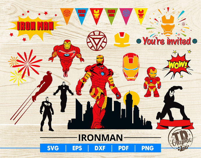 Ironman SVG Bundle, Ironman Mask, Baby Ironman Cupcake Topper, Invitation