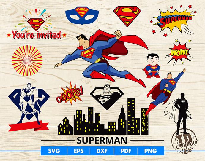 Superman SVG Bundle, Superman Mask, Baby Superman Cupcake Topper, Invitation