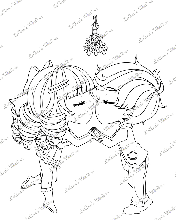 Under The Mistletoe - Digital Stamp