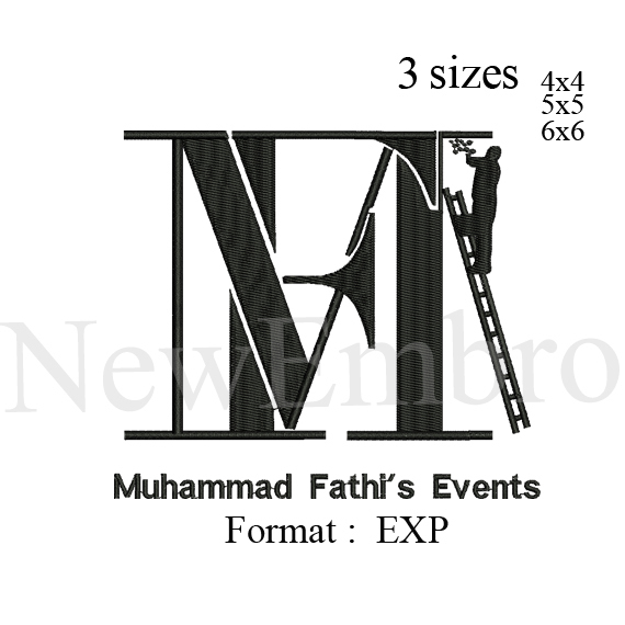 Custom embroidery. Muhammad Fethi events logo embroidery design,  embroidery