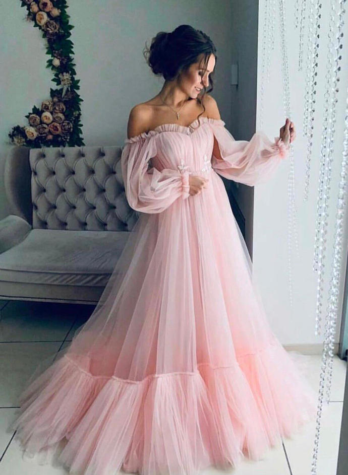 Sweep Train Strapless Tulle A-Line/Princess Prom Dresses