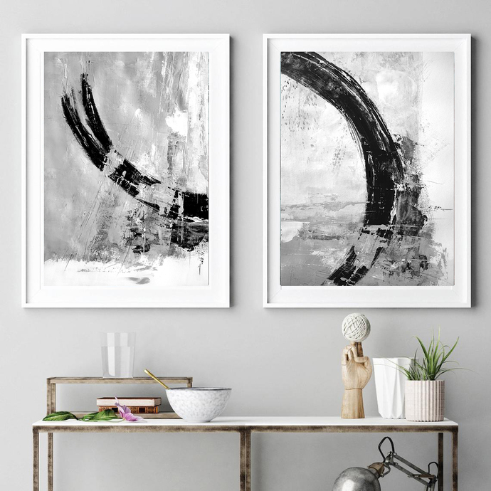 Black & White Print Set, Set of 2 Prints, Printable Art, Black and White Wall