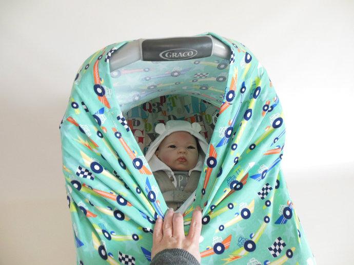 4 in 1 Race Car Nursing Cover, Race Car Stretchy Baby Car Seat Canopy, Race Car