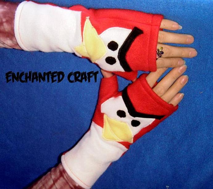 Warm very angry RED BIRD fingerless gloves- fleece