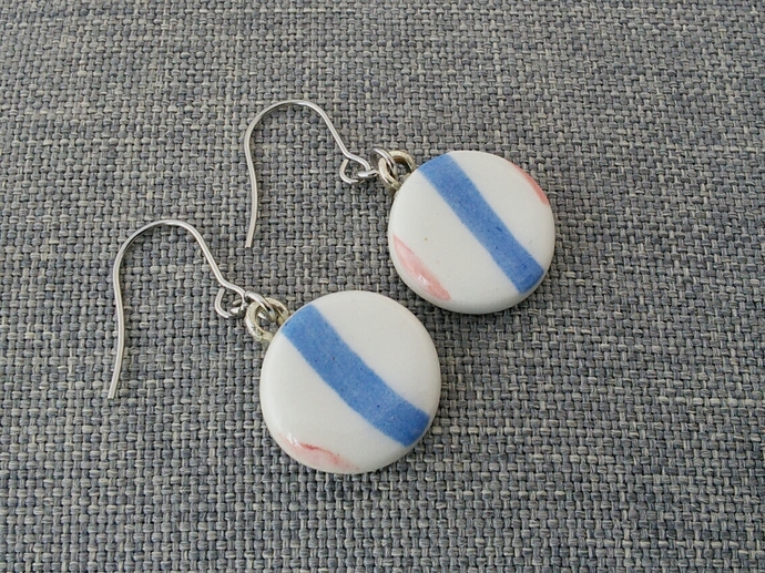 Ceramic Earrings Blue Stripes
