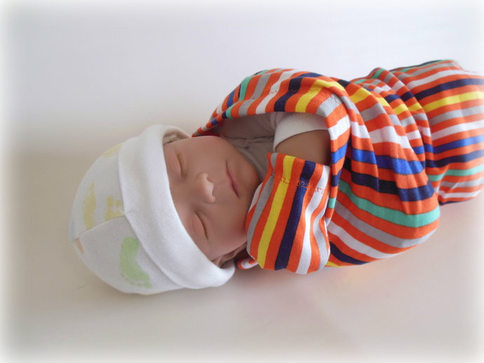Orange Stripes Swaddle Sack,Orange Stripes Sleep Sack,Orange Stripes Cocoon,