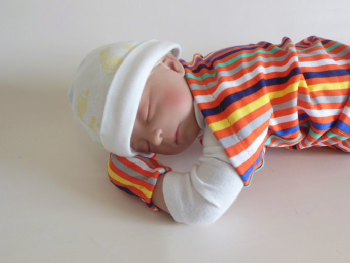 Swaddle Sack, Sleep Sack, Cocoon & Scratch Mittens in Orange Stripes