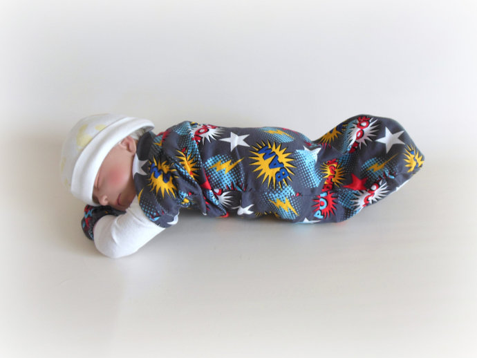 Swaddle Sack, Sleep Sack, Cocoon & Scratch Mittens in Super Hero Dog Print