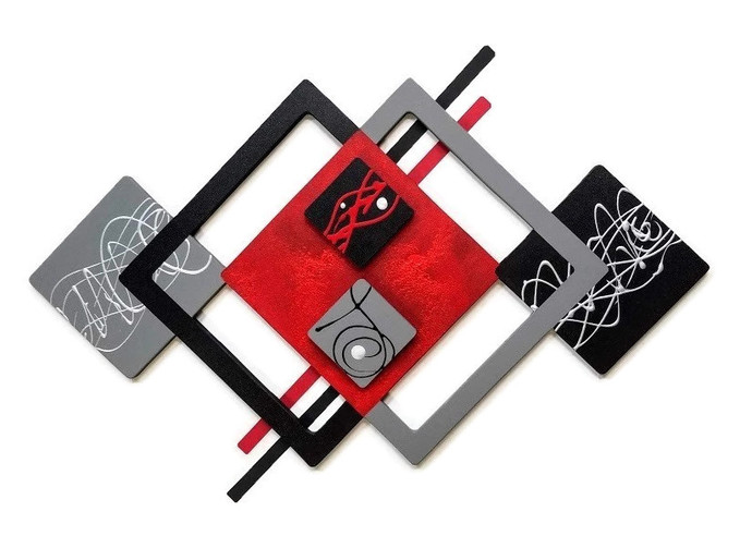 Red Black Abstract Wall Art, Contemporary Wall Sculpture, Layered Square Wood n