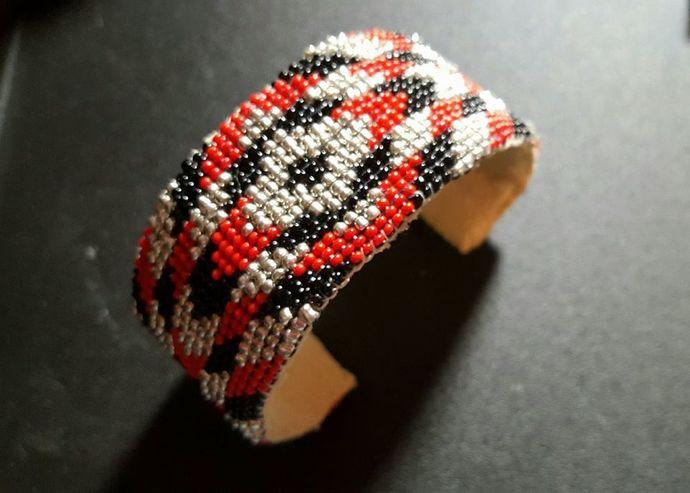 Chevron Leather Cuff Bracelet