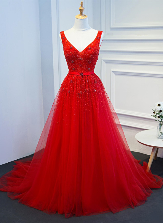 Gorgeous Red Tulle Long Party Gown, Beaded Formal Dresses 2020