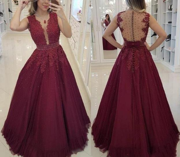 Beautiful Wine Red Tulle Long Party Dress, A-line Beaded Evening Gown