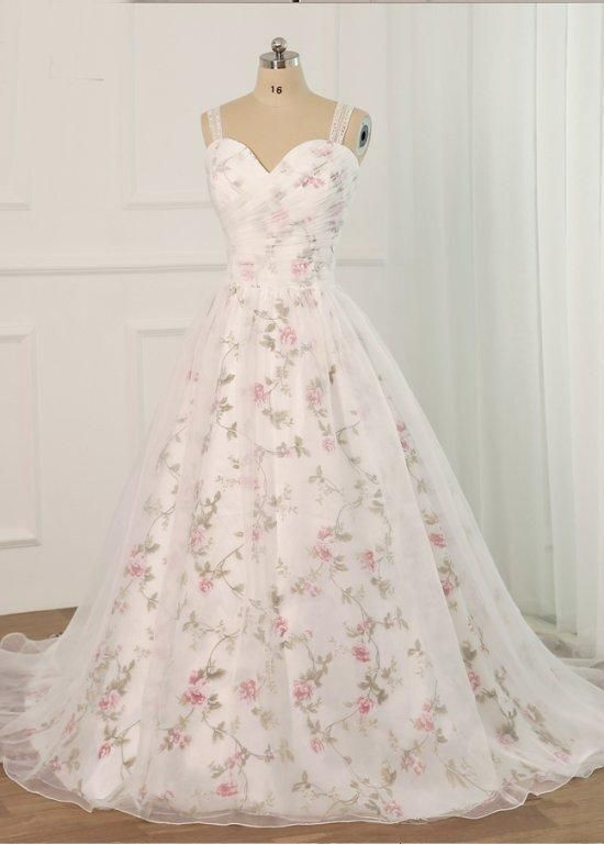 Beautiful White Tulle Floral Straps Long Wedding Party Gown, White Formal