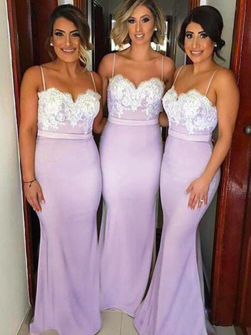 lace applique mermaid bridesmaid dresses long spaghetti straps dusty pink cheap