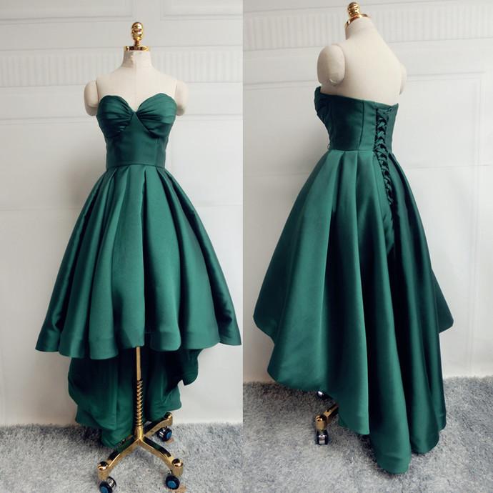 Dark Green Satin High Low Party Dress, Sweetheart Homecoming Dress
