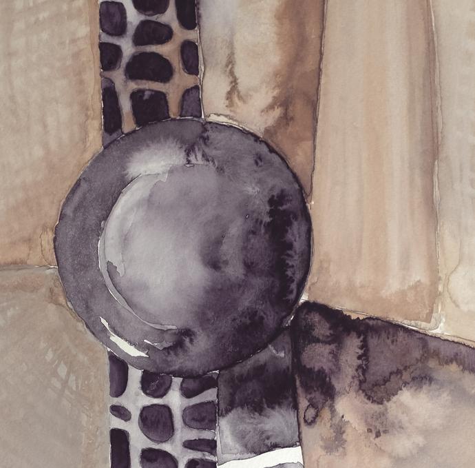 Watercolor art, Abstract geometric, Large Wall Art , Modern beige violett,