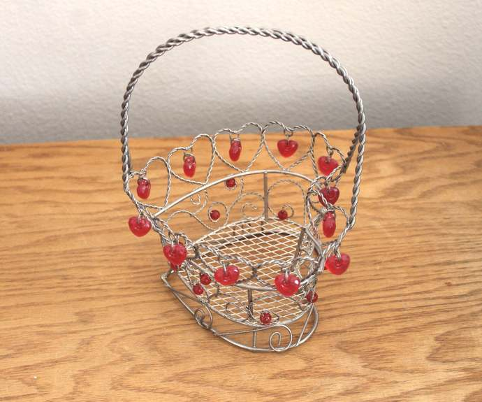 Ornate Wire Heart-Shaped Basket with Plastic Dangle Beads Valentine's Day LOVE
