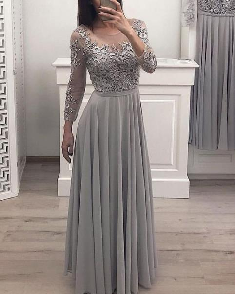 Beautiful A Line Gray Chiffon Long Sleeves Prom Dresses, Long Bridesmaid Dress