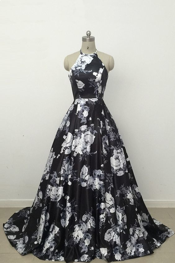 Black Floral Halter Satin A-line Prom Dress 2020, Long Party Dress