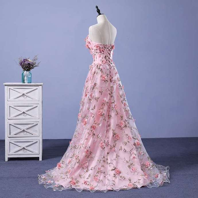 Pink Floral Lace Long Party Dress, Pretty A-line Formal Dress 2020