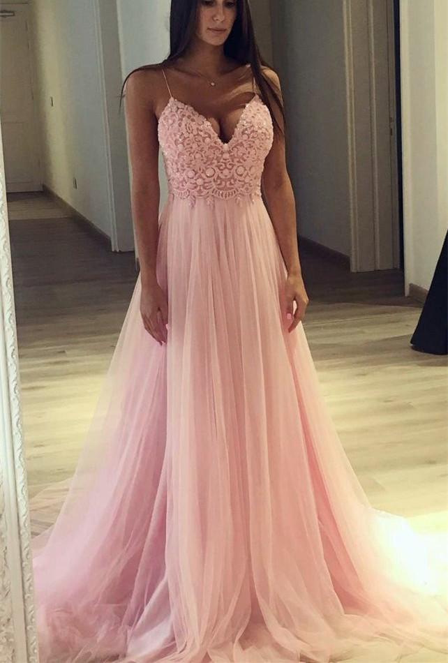 Pink Tulle V-neckline Straps Long Party Dress, A-line Formal Dresses 2020